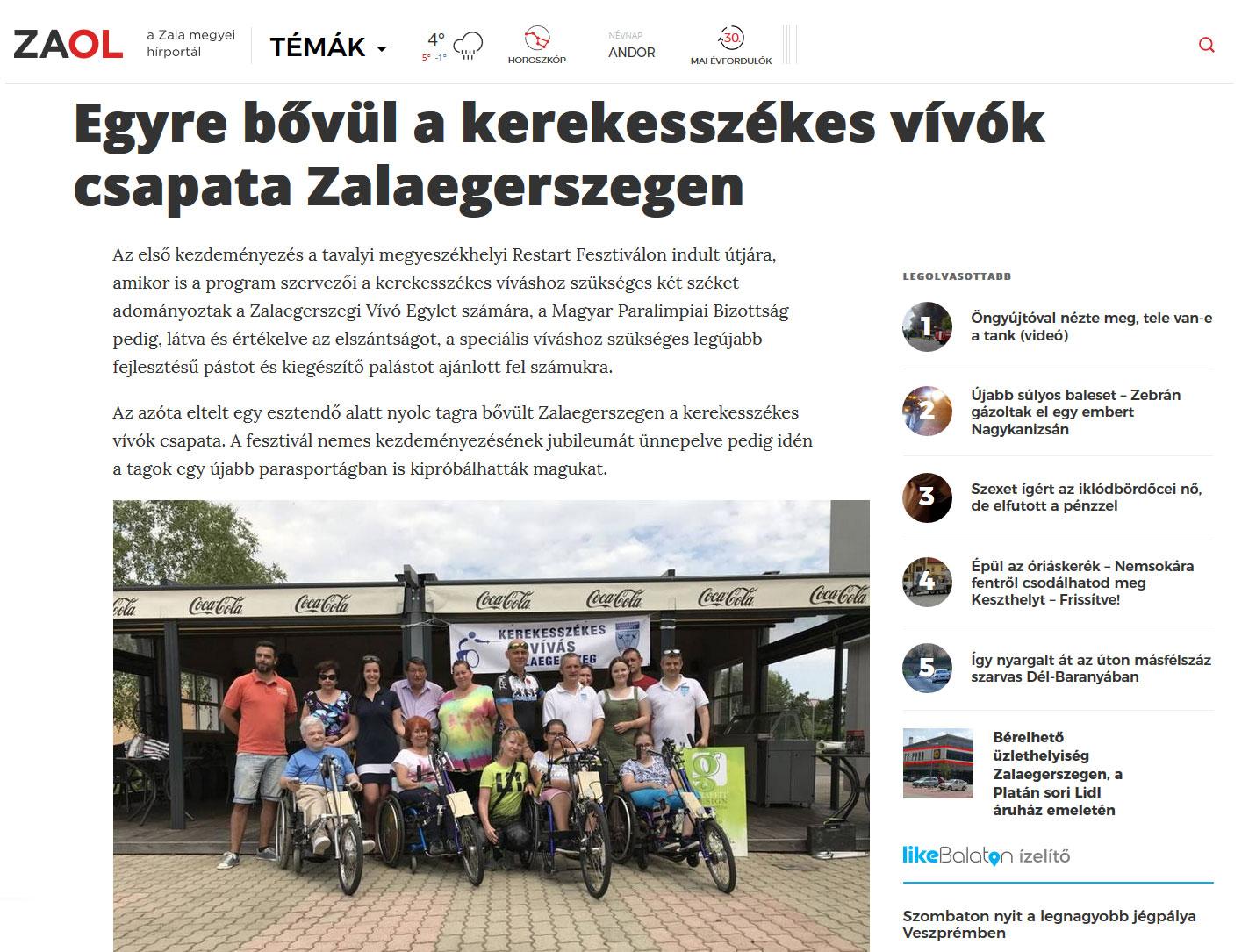 2019 - Egyre bővül a kerekesszékes vívók csapata Zalaegerszegen