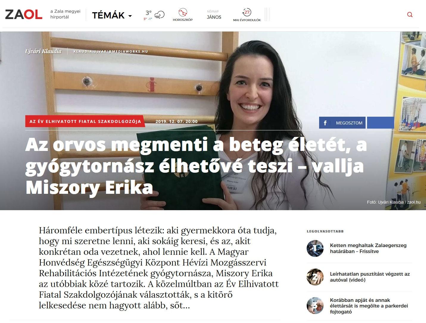 Miszory Erika - 2019 - Az orvos megmenti a beteg életét, a gyógytornász élhetővé teszi