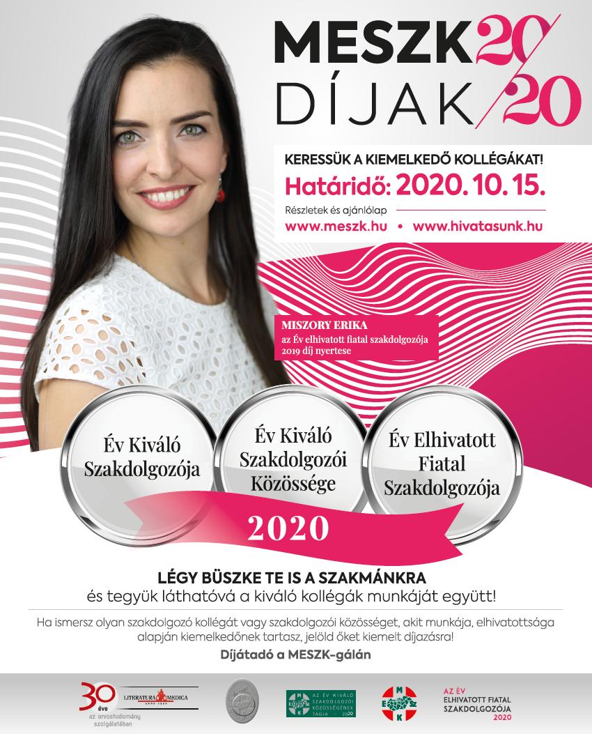 Miszory Erika MESZK díjak 2020 plakát